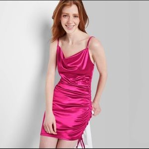 Wild Fable Magenta Ruched Satin Mini Dress Small